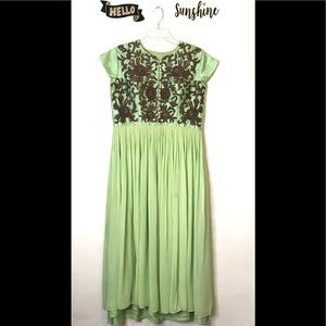Beautiful Vintage Silk Embroidered Maxi Dress